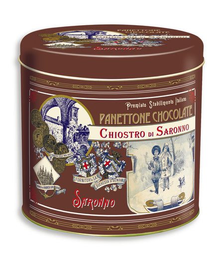 Chocolate chip mini-panettone in Promenade metal tin, 100g