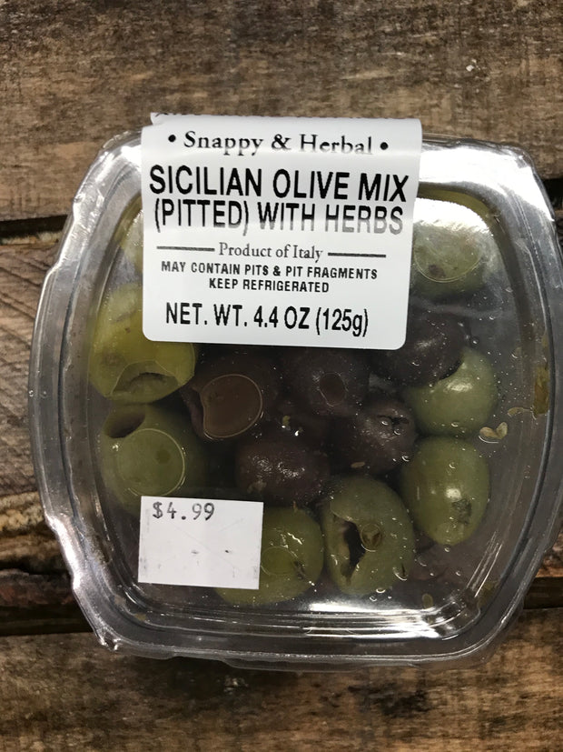 Sicilian Olive Mix, Pitted, with Herbs, 4.4oz