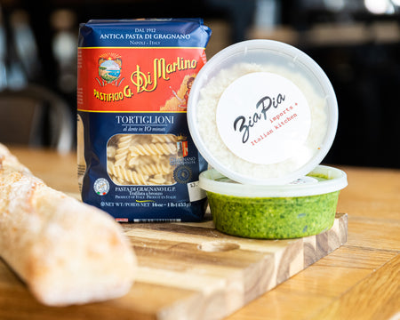 Create your own Pasta Al Pesto at home with our house-made pesto sauce and imported pasta