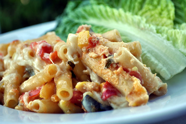 Baked Rigatoni with Summer Vegetables and Fontina
