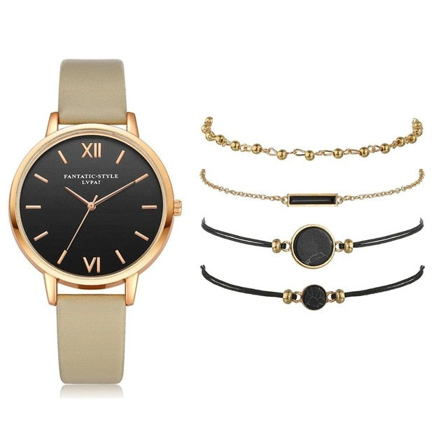 Watch Set Women 5pcs Woman Quartz Wristwatch