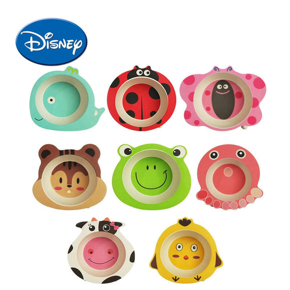 DISNEY Bamboo Fiber Children Tableware Rice Originality Modeling Service Plate Kindergarten Defence Broken Bowl