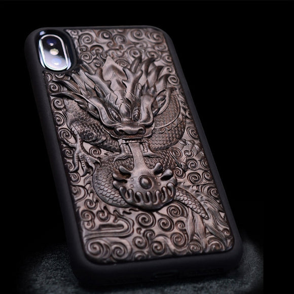 Luxury Carved Ebony Wood 3D Stereo Case for iPhone XS TPU Full Protective Back Cover Phone Bag Cases For iPhone X XR XS Max