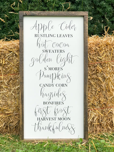 Apple Cider Fall Framed Wood Sign 12 x 24