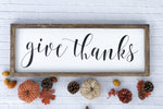 Give Thanks Framed Wood Sign (cursive) 26 x 10