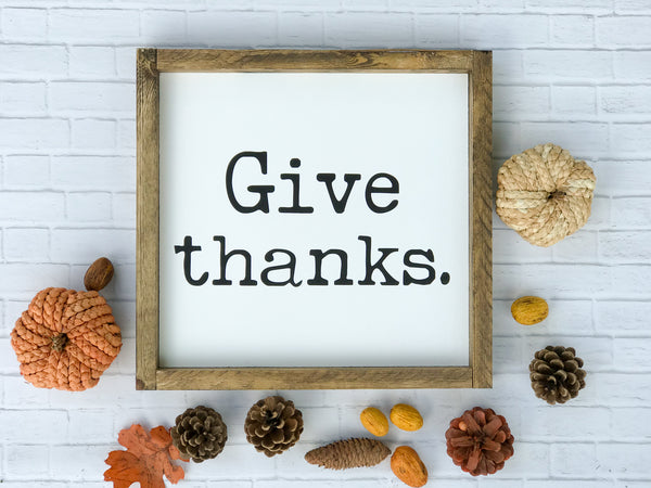 Give Thanks Framed Wood Sign (square) 13 x 13