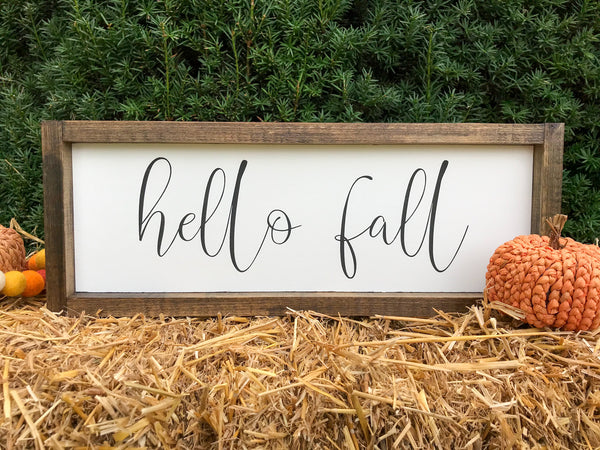 Hello Fall Framed Wood Sign 18 x 6