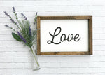 Love Framed Wood Sign 14 x 10