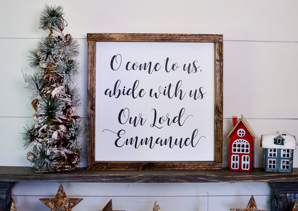 O Come To Us Framed Wood Sign 14 x 14