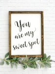You Are My Sweet Spot Framed Wood Sign 14 x 18