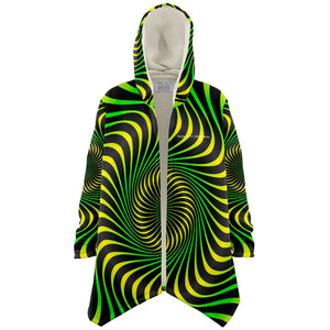 Green Hypnotic Design With Psychedelic Dark Blue Skull & Mushrooms Hooded Micro Fleece Cloak