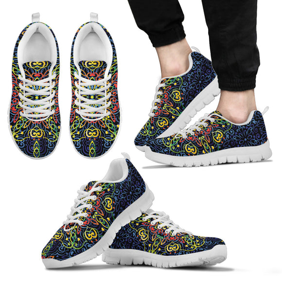 Glowing Rasta Mandala Men's Sneakers
