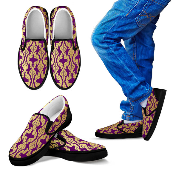 Purple Baroque Kid's Slip Ons