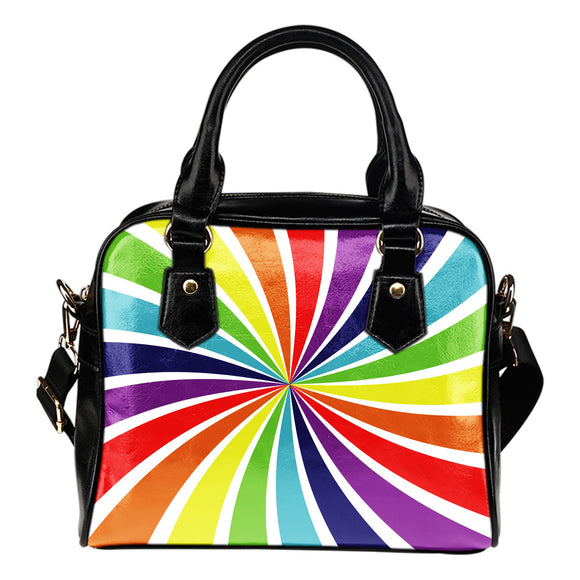 Psychedelic Rainbow Shoulder Handbag