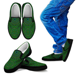 Oriental Green Love Kid's Slip Ons