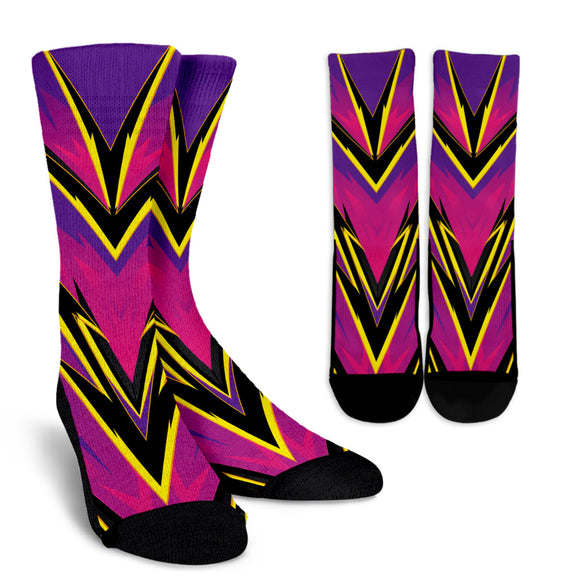 Racing Style Pink & Violet Vibes Crew Socks