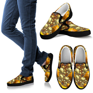 Psychedelic Gold Women's Slip Ons