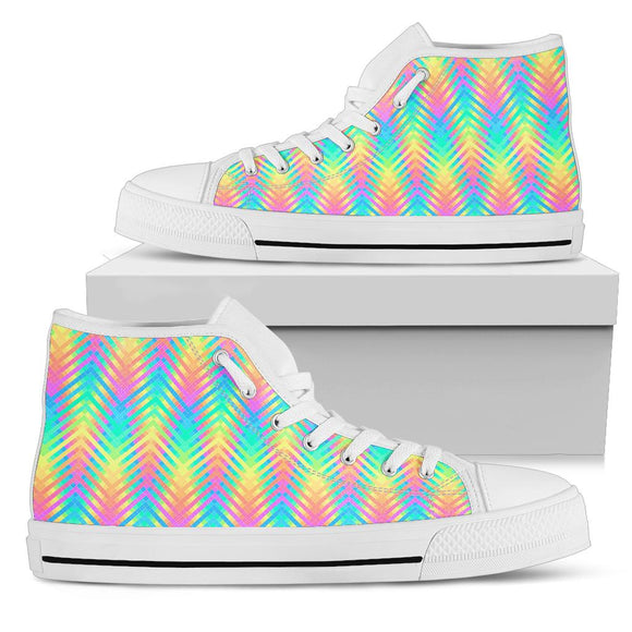 Psychedelic Rainbow Neon High Top Shoes