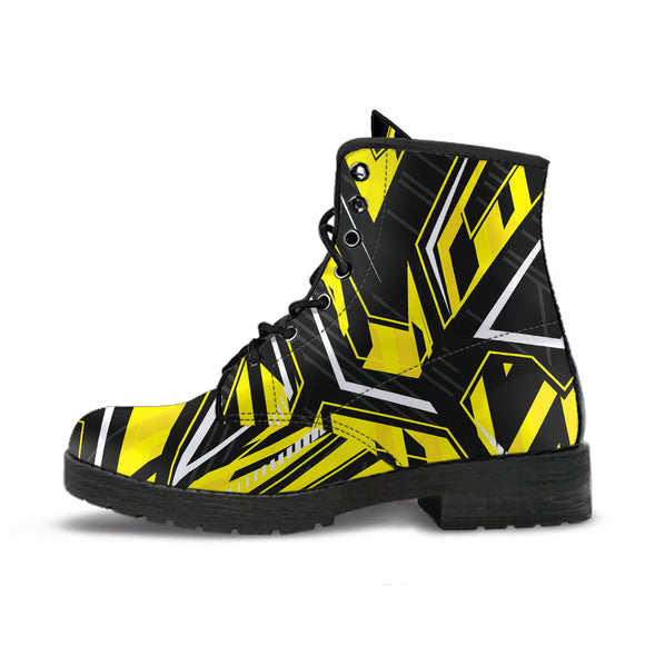 Racing Style Yellow & Black 2 Vibes Leather Boots
