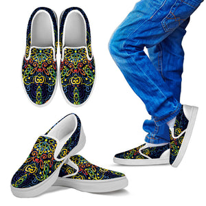 Glowing Rasta Mandala Kid's Slip Ons