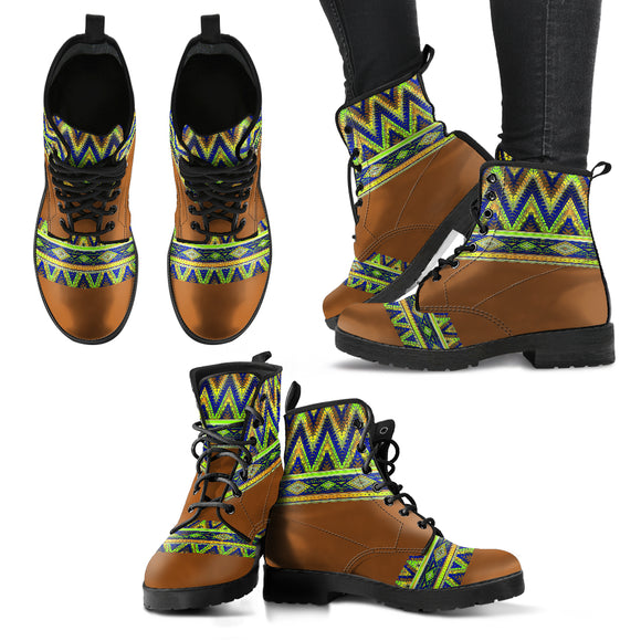 Brown Bohemian Neon Pattern Handcrafted Boots