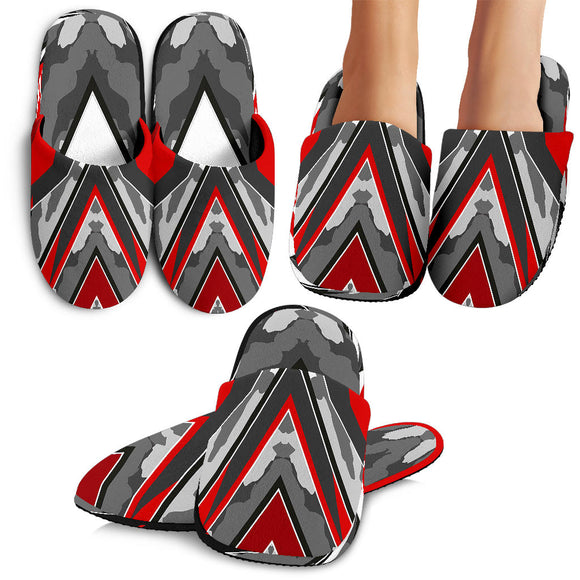 Racing Army Style Wild Red & Grey 2 Vibes Slippers