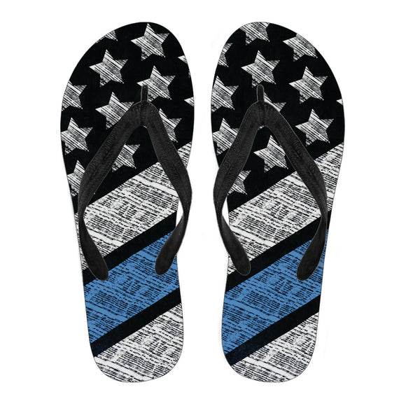 Blue And White Strips Men's Flip Flops
