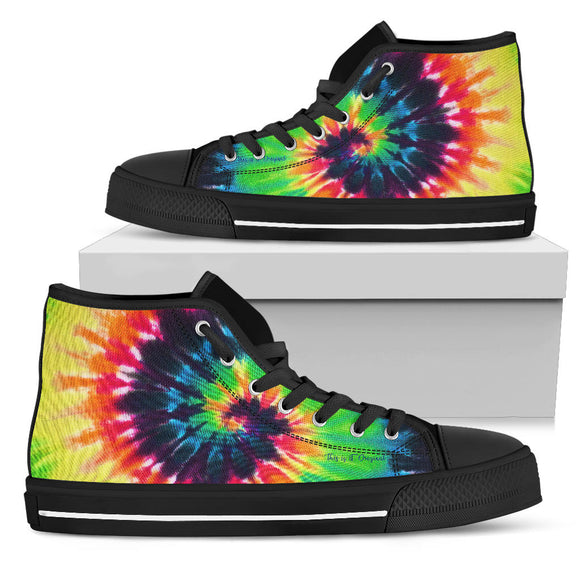 Luxury Rainbow Colors Tie Dye Design High Top Shoe