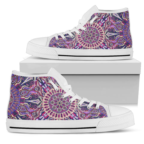 Ornamental Magical Purple Women's High Top Shoes