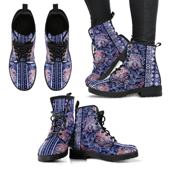 Fractal Blue Flower Handcrafted Boots