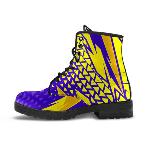 Racing Style Purple & Yellow 2 Vibes Leather Boots