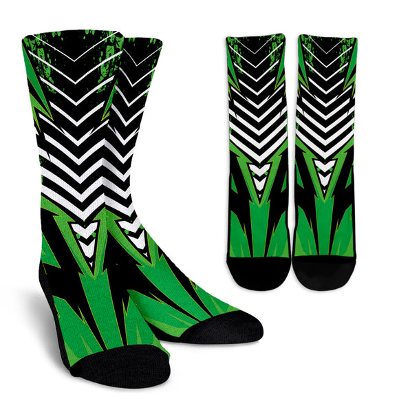 Racing Style Green & White Stripes Vibes Crew Socks