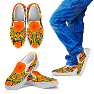 Neon Orange Sun Kid's Slip Ons
