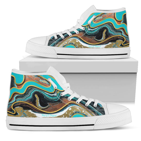 Luxury Marble Ocean Blue Design With Gold Stripes High Top Shoe