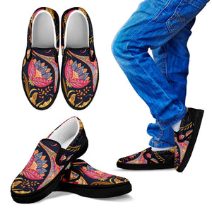 Royal Blue Paisley Kid's Slip Ons