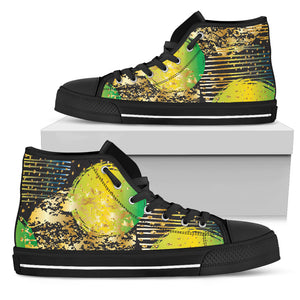 Energizing Neon Dots Men's High Top Shoes
