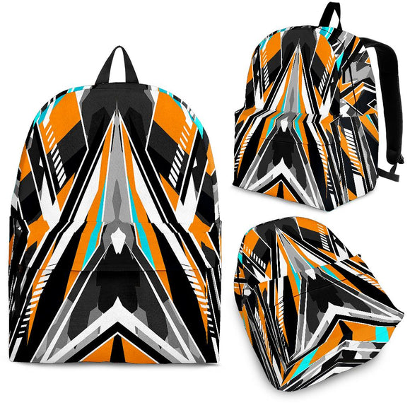 Racing Army Style Orange & Light Blue Colors Vibe Backpack