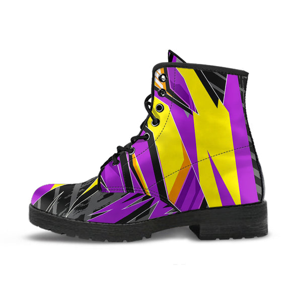 Racing Style Violet & Yellow 2 Vibes Leather Boots