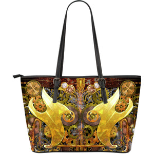Classic Gold Steampunk Large Leather Tote Bag
