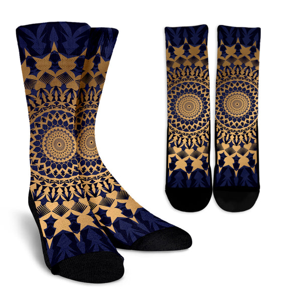 Amazing Blue Mandala Love Crew Socks