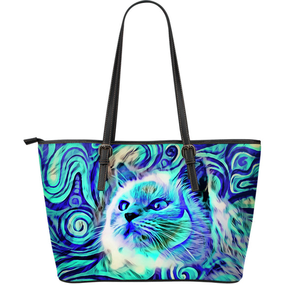Blue Magical Cat Large Leather Tote Bag
