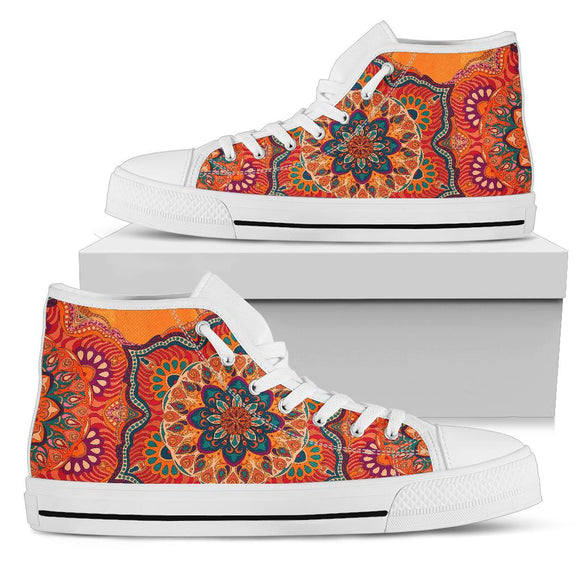 Orange Mandala White Style High Top Shoe