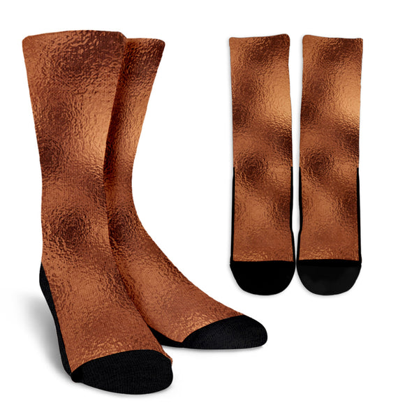 Glittering Copper Crew Socks