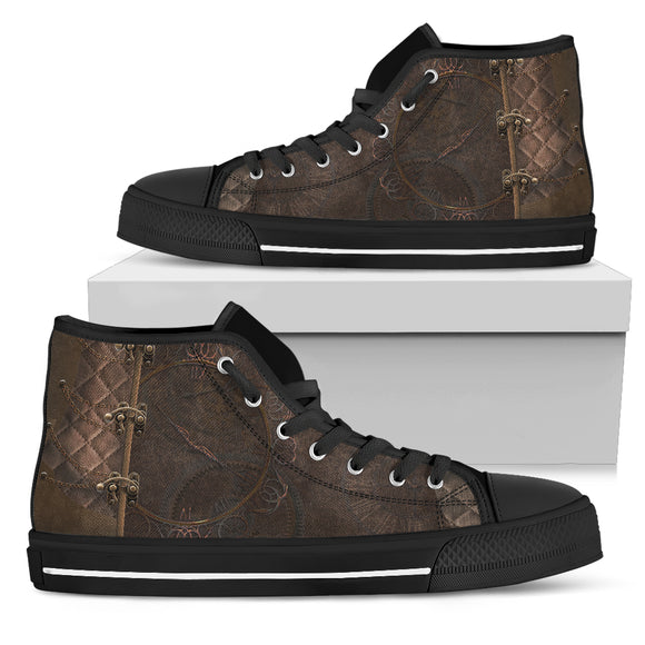 Brown Pattern Women's High Top Shoes