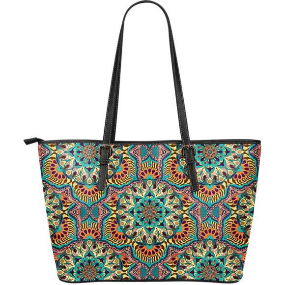 Luxury Summer Mandala Large Leather Tote Bag