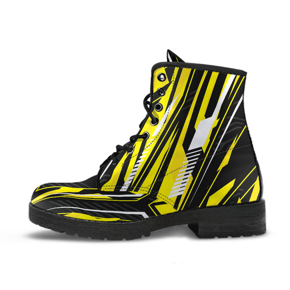 Racing Style Yellow & Black Vibes Leather Boots