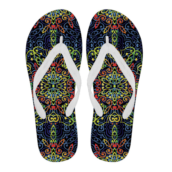 Glowing Rasta Mandala Men's Flip Flops