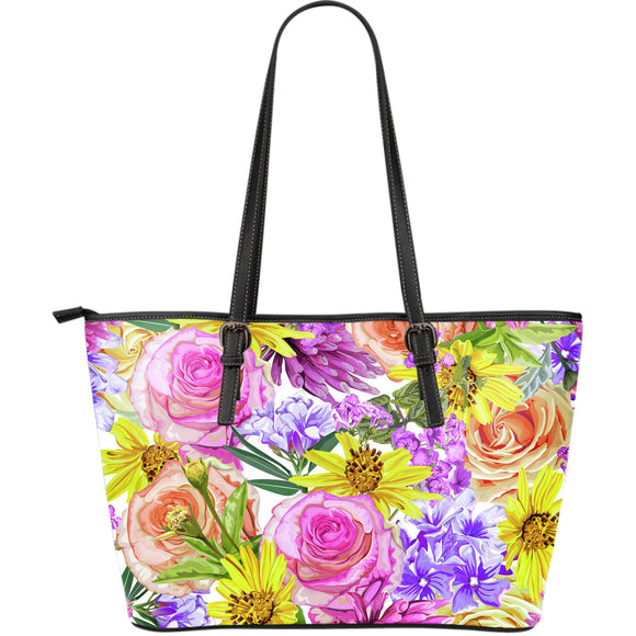Summer Garden Large Leather Tote Bag