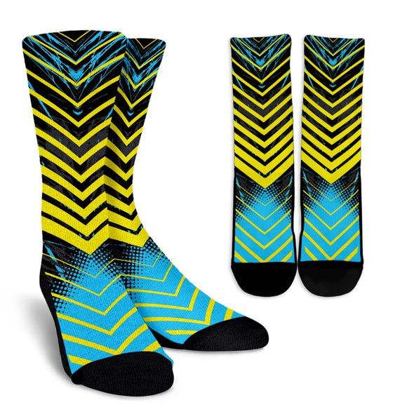 Racing Style Light Blue & Yellow Stripes Vibes Crew Socks