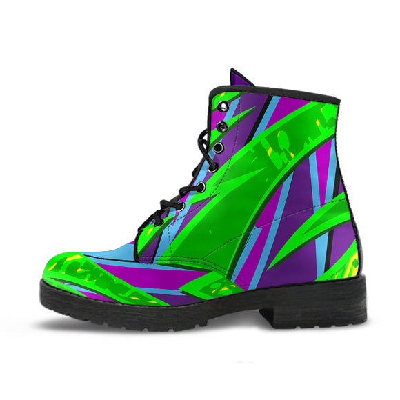 Racing Style Neon Green & Purple Vibes Leather Boots